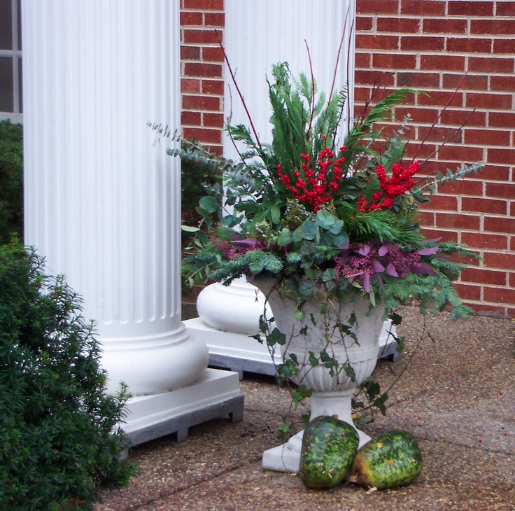 Winter container gardening notice the added touch of fall inspired gourds winter season - Winter container garden ideas ...