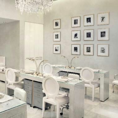 White manicure stations blu ball pinterest manicures for Modern salon stations