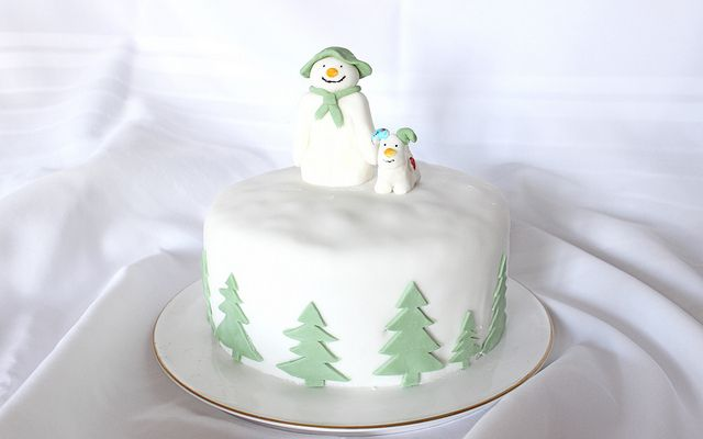 """Snowman"" winter cake. I love ""The Snowman"". Best opening-presents movie ever! @Donna Roessler"