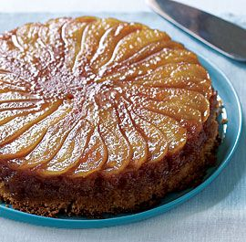 Caramelized Pear Upside-Down Cake - so easy - so tasty, I used brown sugar & butter with grated fresh ginger instead of the caramel in the recipe.