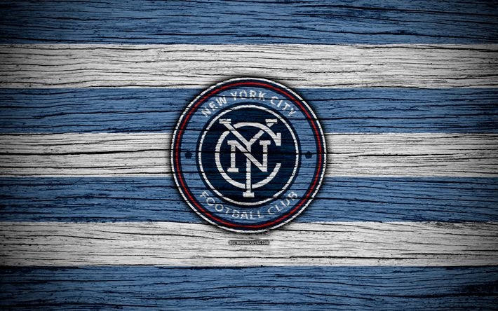 Download wallpapers New York City, 4k, MLS, wooden texture, Eastern Conference, football club, USA, New York City FC, soccer, logo, FC New York City