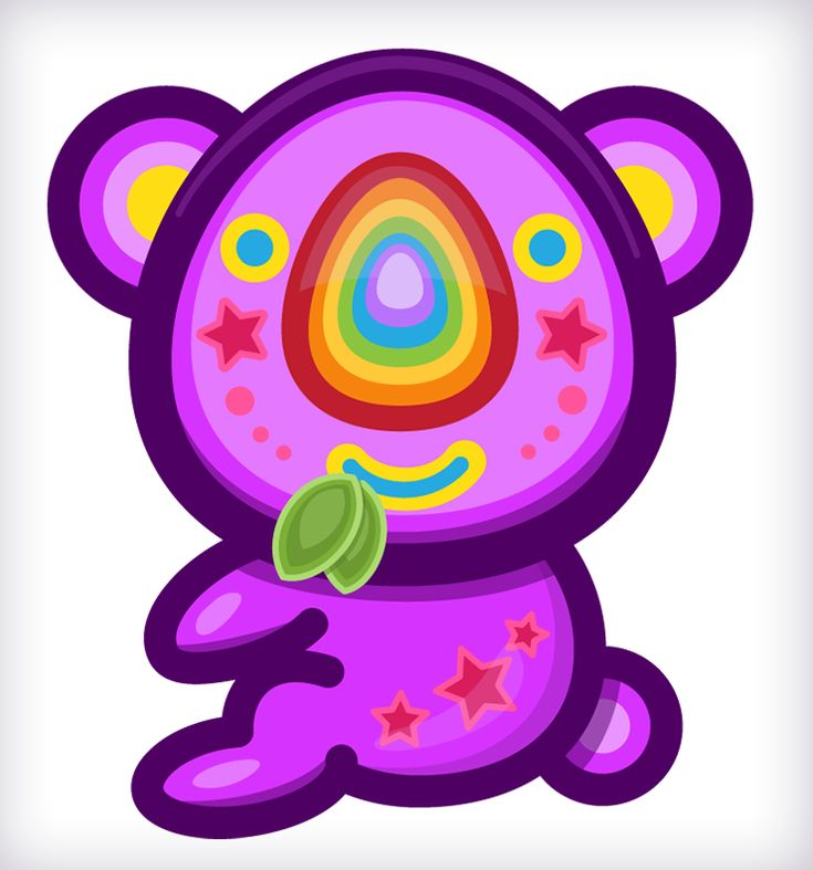 KoaKoa!!  ʕ•ᴥ•ʔ Rainbow Koala Bear! Drawing, Art, Illustration :)