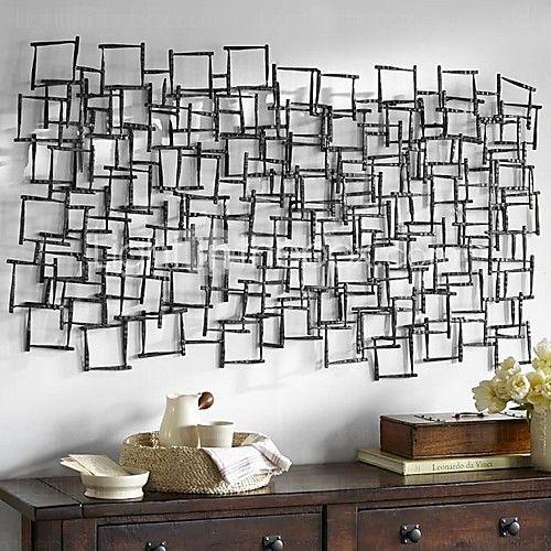 E-HOME® Metal Wall Art Wall Decor, Square Pattern Stitching Wall Decor One PCS - USD $149.99
