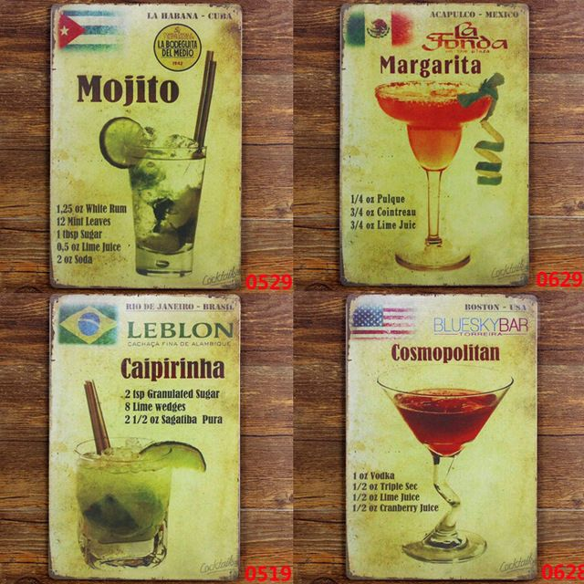 Мохито Куба, Caipirinha Бразилия, Мексика Маргарита, Космополитический США металл олово признаки винтаж номерного знака украшения стены для кафе-бар