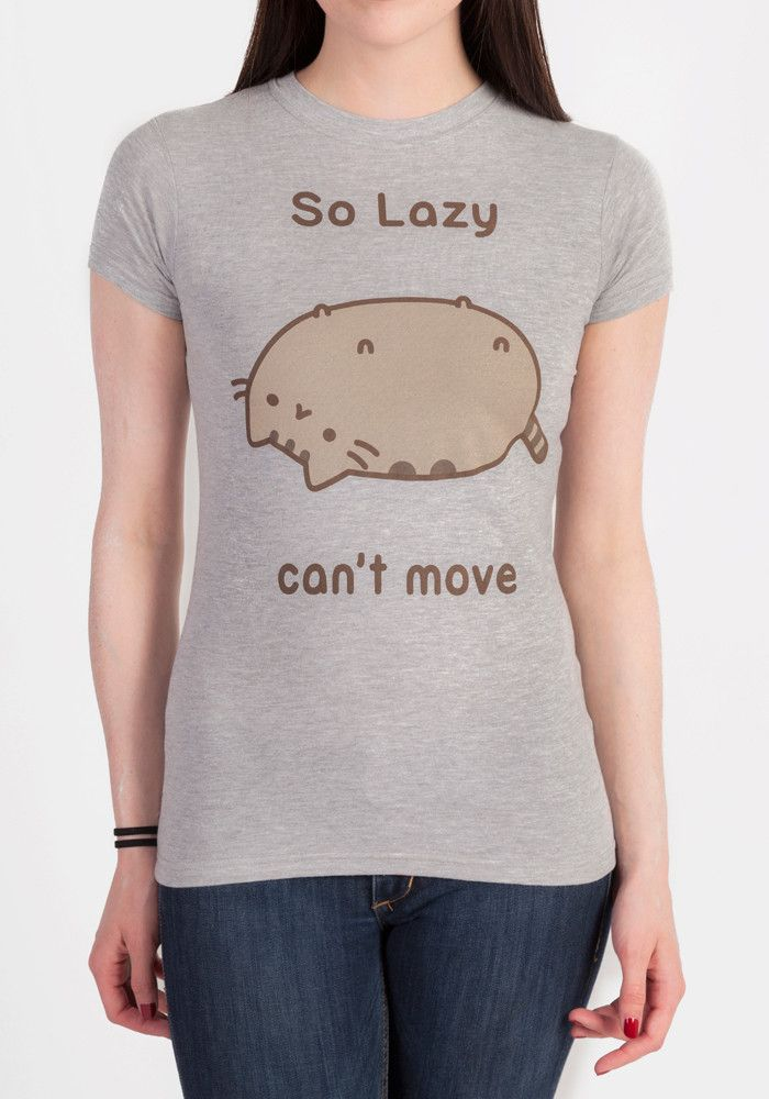 """You gotta love that chubby cat Pusheen when she's lazily lying around! This juniors tee features Pusheen being super lazy and the words """"So Lazy can't move""""."""