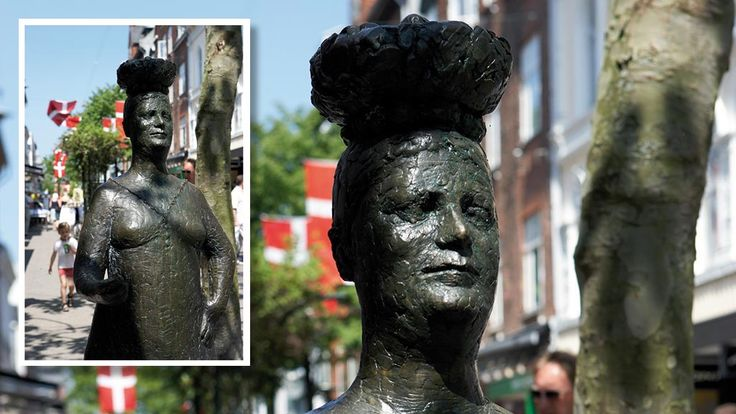 "Skulptur ""Konen med æggene"" - Kongensgade 30 i Odense"