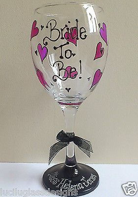 Bride to Be Hen Party Personalised wine glass with heart design Luci Lu Designs in Home, Furniture & DIY,Celebrations & Occasions,Other Celebrations & Occasions | eBay