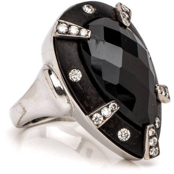 Black Tourmaline and Diamond Ring ($6,750) ❤ liked on Polyvore featuring jewelry, rings, diamond jewelry, tourmaline diamond ring, diamond jewellery, diamond rings and tourmaline jewelry