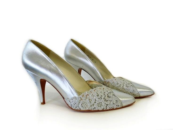 vintage stuart weitzman lace silver pumps shoes wedding shoes