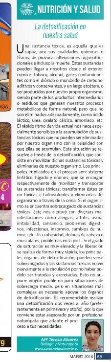 Columna sobre la importancia de la detoxificación en nuestra salud en la revista La Publi de la Axarquía