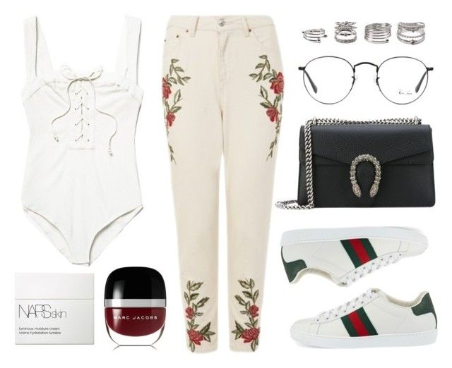 """""""Untitled #21465"""" by florencia95 ❤ liked on Polyvore featuring Topshop, Gucci, Free People, Ray-Ban, Forever 21, Marc Jacobs and NARS Cosmetics"""