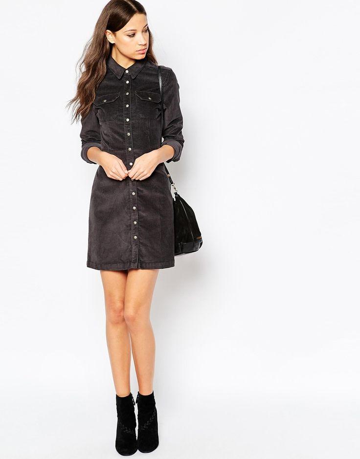 5000 = Серое вельветовое платье-рубашка в стиле вестерн ASOS TALL