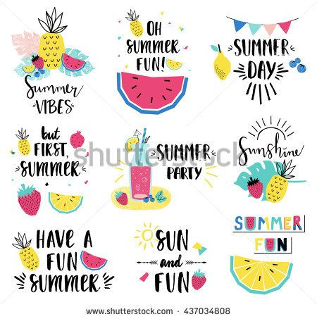 Summer lettering set with holiday elements. Watermelon, strawberry, lemonade. Vector illustration.