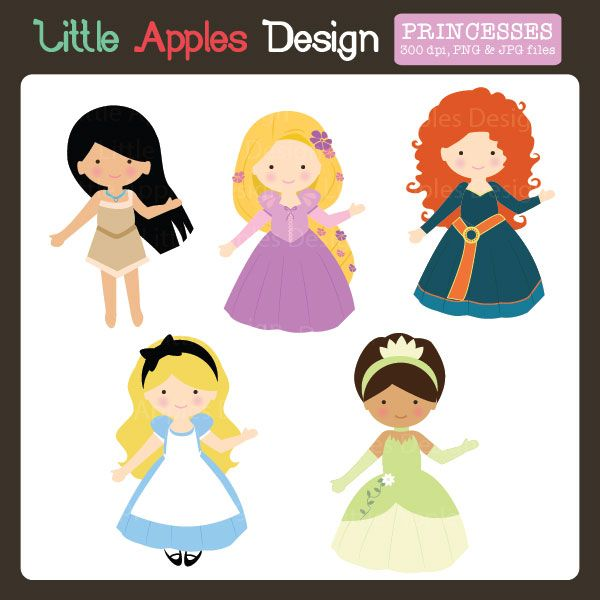 Fairytale Princess Clipart - perfect for invitations, cardmaking, scrapbooking, and more.