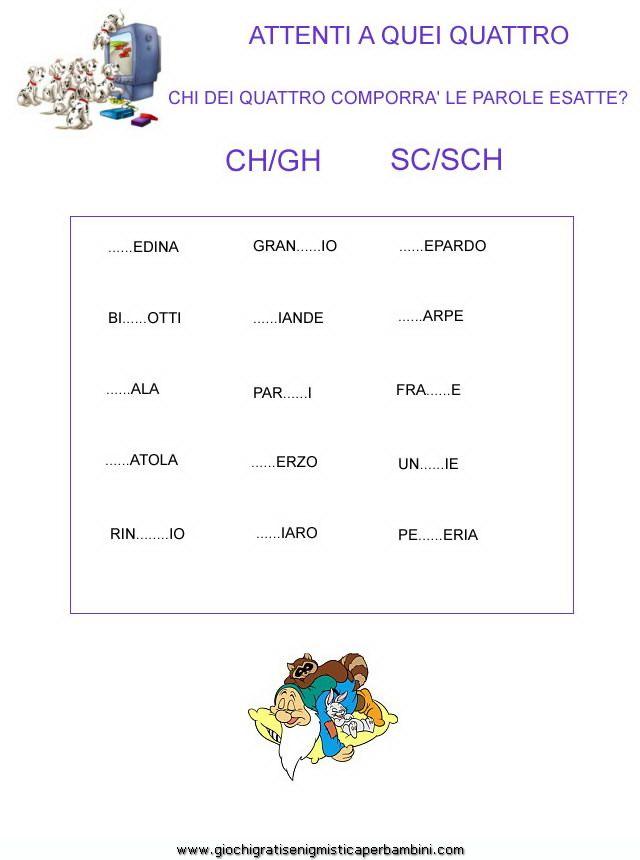 esercizi_ch_gh_sc_sch Giochi per bambini