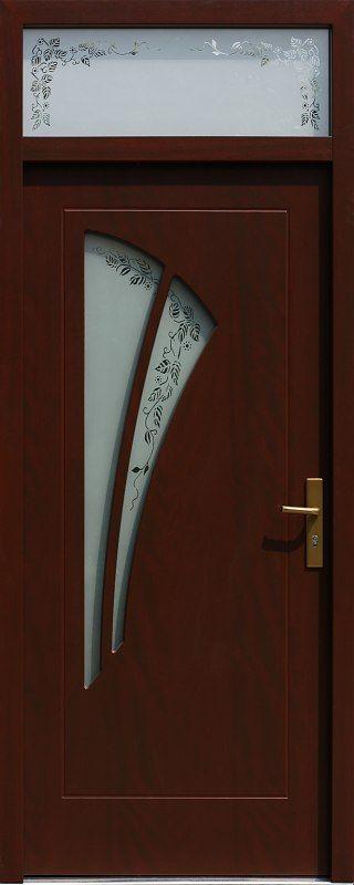 Drzwi z naświetlem górnym z szybą wzór 570s3+ds3 w kolorze mahoń.