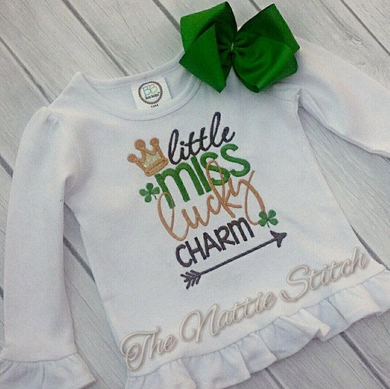 Girl St Patrick Day Shirt St Patty Day Shirt Lucky Charm Embroidery Personalized Shirt Baby St Patricks Day Outfit by TheNattieStitch