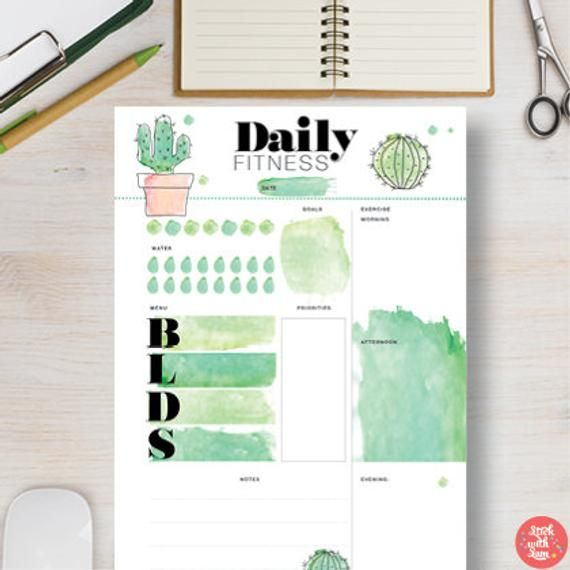 FITNESS Printable Planner. Cactus fitness printable download. Daily fitness agenda – A4, A5, Letter & Half Letter. Fitness organiser | #681