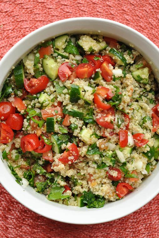 Quinoa Tabouli- 1 cup dry quinoa, rinsed, drained and cooked according to package instructions 2 cups chopped tomatoes, about 2 large 1 1/2 cups chopped cucumbers 1/2 cup chopped onion (can substitute green onions) 1 cup fresh mint leaves, finely chopped 2 cups fresh Italian parsley, finely chopped Dressing: 3 Tablespoons olive oil 1/3 scant cup freshly squeezed lemon juice (about 3 lemons) 1 garlic clove, grated 1/2 teaspoon ground cumin 1/2 teaspoon Koser salt 1/4 teaspoon pepper