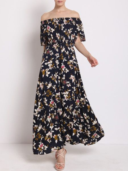 Wearing #Fashionable Floral-print Textured Stretch Cotton Maxi #Dress to #beach