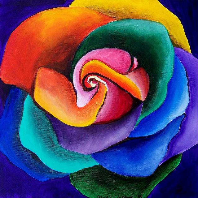 28 best chalk pastel art images on pinterest chalk for Rainbow colored rose