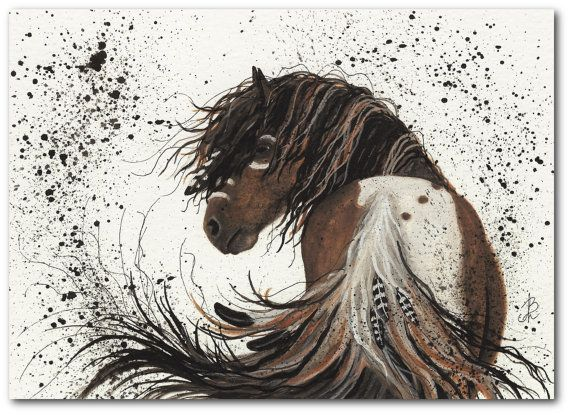 Native American Horse Painting | ... Native American Pinto Feathers Horse ArT 57 - 5x7 Fine ArT Print by