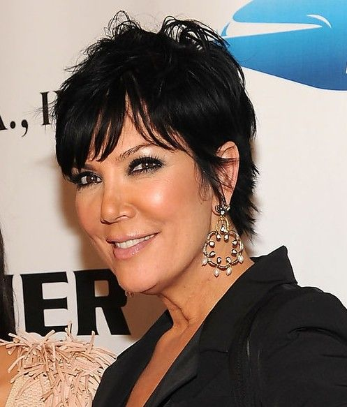 Here is a messy short black haircut from Kris Jenner. This short and messy 'do is all about texture and shape thanks to all uniform layers cut all over.