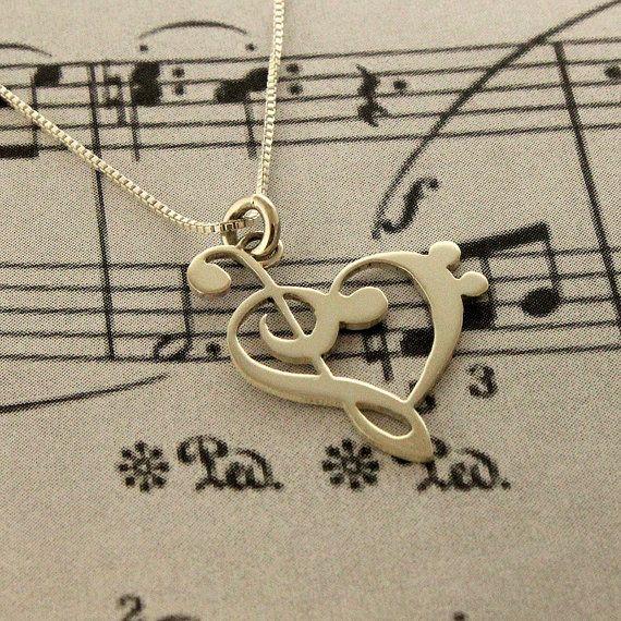 G clef bass clef cuore collana argento musica di Silversmith925