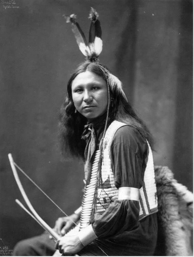 Portrait of Shout At, Native American Oglala, Teton Sioux man, (Lakota) - Heyn Photo - 1899