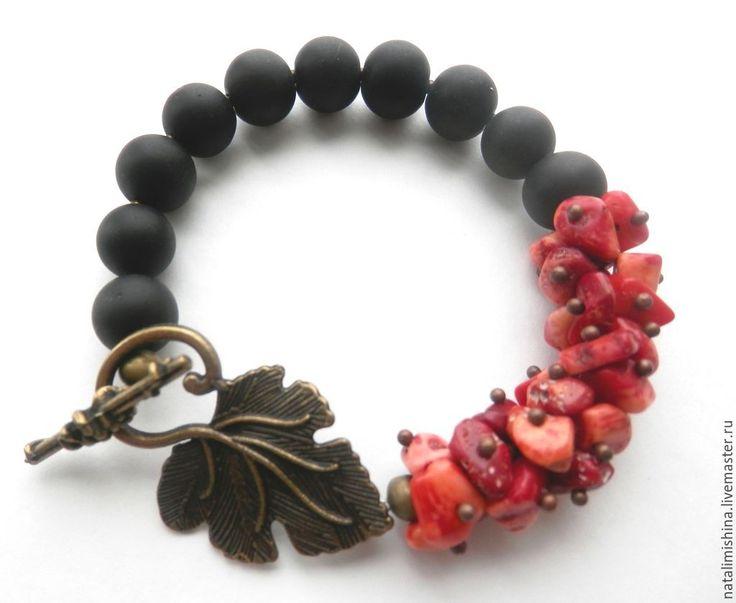 """Купить Браслет """"Грезы"""" - разноцветный, коралл, кораллы, коралл красный, коралловый браслет, шунгит"""