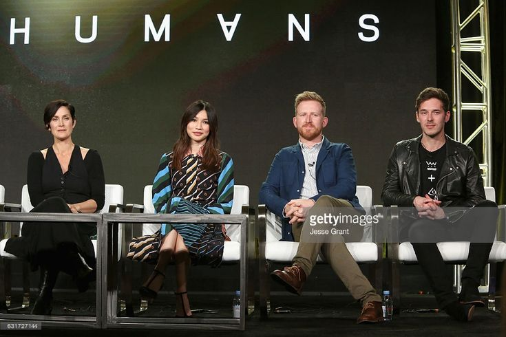 Actors Carrie-Anne Moss, Gemma Chan, Tom Goodman-Hill and Sam Palladio attend the AMC presentation of The SON, HUMANS Season 2, Better Call Saul Season 3 on January 14, 2017 in Pasadena, California.