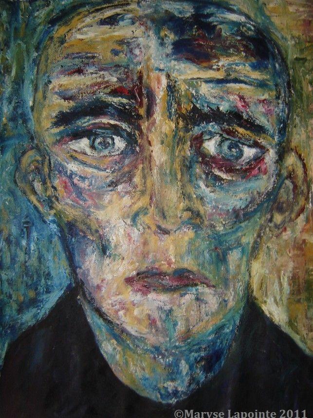 Portrait à la Kokoschka – 2011 Huile/toile 40.5 x 35 po. (107 x 92 cm) 1300$ encadré #Kokoschka, #painting, #portrait, #expressionnisme,