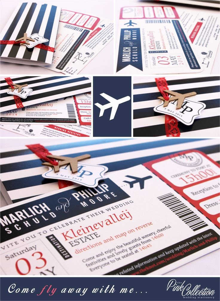 The bride and groom are both pilots so a boarding pass style invite aptly suited them!