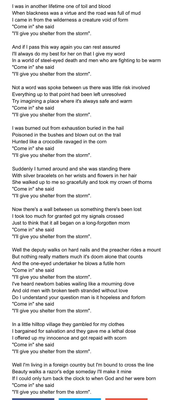 Bob Dylan – Shelter From The Storm Lyrics | Genius Lyrics