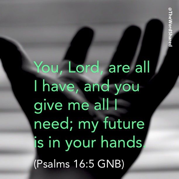 You, Lord, are all I have, and you give me all I need; my future is in your hands. (Psalms 16:5 GNB) <>< My absolute fave psalm, #16... Good News Bible, Today's English Version!!  Best translation, applicable to today's life!