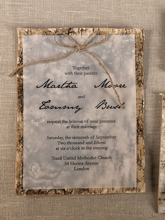 Natural Birch Bark  Wedding InvitationCounty by DecorisWedding, $5.50 I could do this.