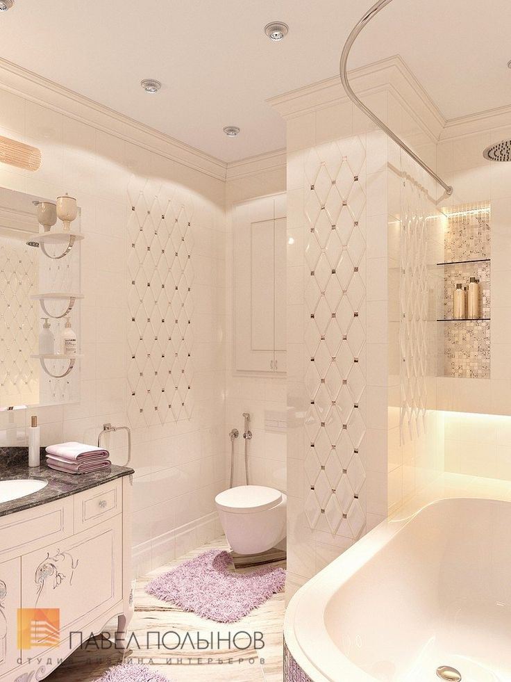 Фото интерьер ванной комнаты из проекта «Дизайн 4-комнатной квартиры 162 кв.м. в ЖК «Платинум», стиль неоклассика»