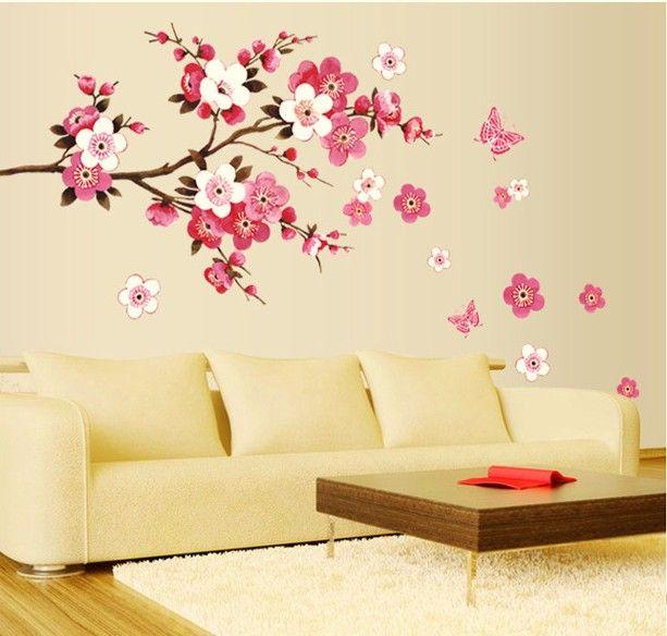 best verkopende groot formaat 165x75cm verwijderbare muurstickers butterfy bloemen sticker kunst diy home decor trouwzaal meisjes kamer