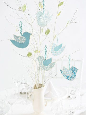 Baby shower center piece: Centerpieces Ideas, Cute Birds, Centerpieces Perfect, Trees Branches, Natureinspir Centerpieces, Baby Shower Birds, Birds Baby Shower Ideas, Wedding Centerpieces, Baby Shower Center