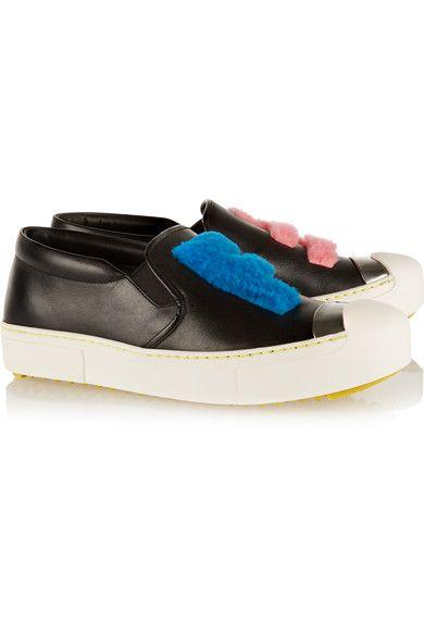 Fendi - Faux Shearling-trimmed Leather Slip-on Sneakers - Black - IT37.5