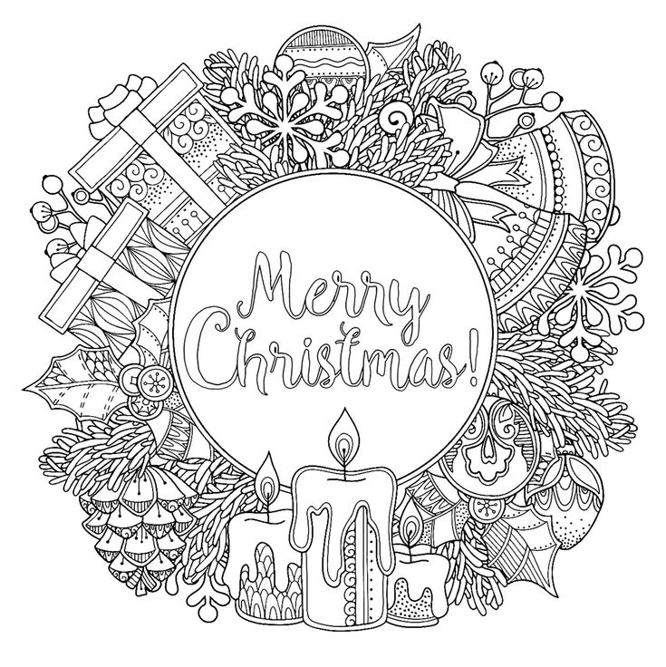 Doodl Christmas wreath Christmas Coloring Pages for