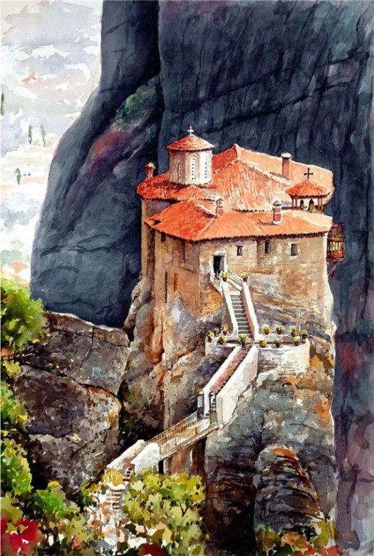 Watercolor by Pantelis Zografos