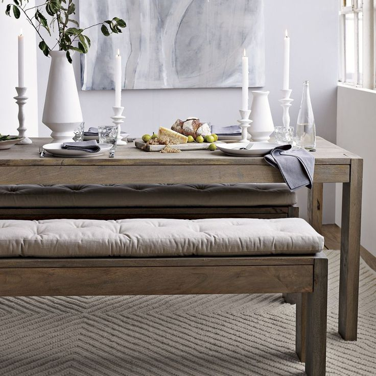 Tufted Dining Bench Cushion 147cm long cushion is £64  in coal or