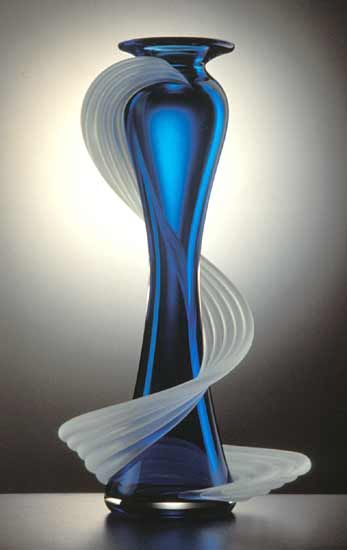 """Large Flamenco Vase"" By Thomas Kelly - Blown And Sandblasted Glass Vase With A Flair For The Dramatic"