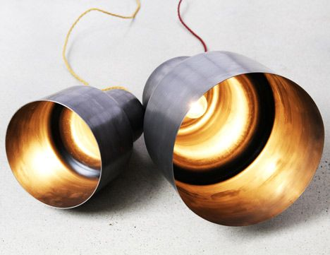 Spun lights by Justin and Glenn Lamont available through Matilda Design.  These wall lights can be finished in raw oiled steel, aluminium or powder coated finish. #lighting