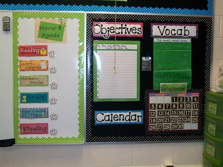 Classroom setup with ideas for walls and more.