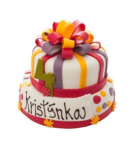 Dětský dort č. 24 Dvoupatrový dětský dort, o rozměrech 24 cm a 18 cm, obalený fondánem a dozdobený fondánovou mašlí, fondánovými barevnými proužky a cedulkou s nápisem