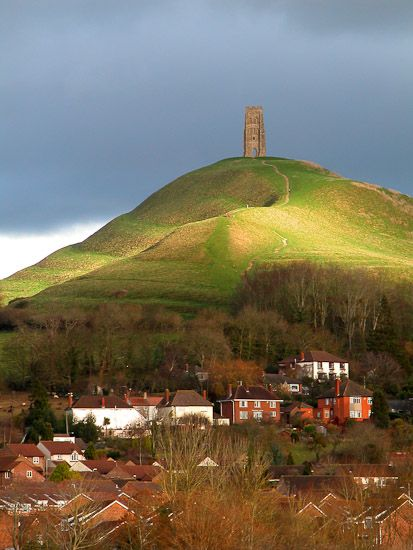 Glastonbury Tor - Somerset, England with the 14th century St Michael's Church