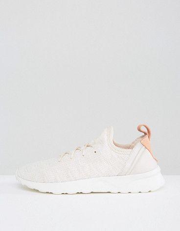 adidas Originals Beige ZX Flux Adv Virtue Sneakers by adidas. Sneakers by Adidas, Textile upper, Lace-up fastening, Sock-like cuff, Signature logo to heel, Pull tab, Chunky sole, ...
