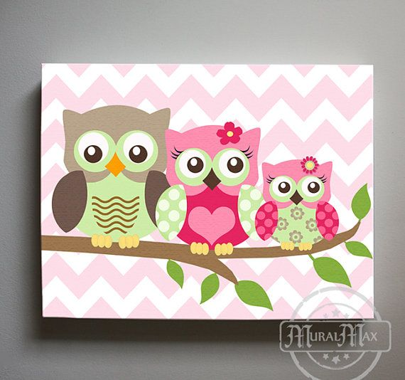 OWL canvas art Baby Nursery Owl Canvas Set Girls by MuralMAX
